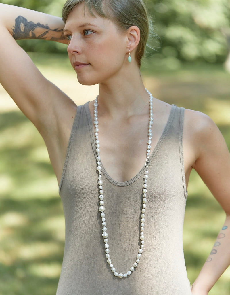 Cumulus Popcorn Pearl Knotted Ruthie B. Necklace-Hannah Blount Jewelry