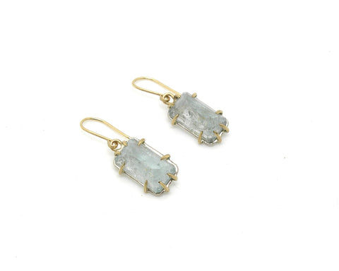 Aquamarine Pyramid Vanity Earrings-Hannah Blount Jewelry