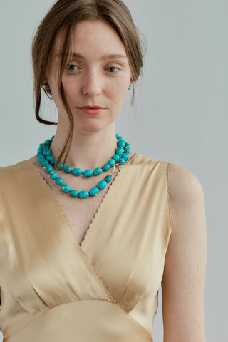 Turquoise Popcorn Whopper Knotted Ruthie B. Necklace-Hannah Blount Jewelry