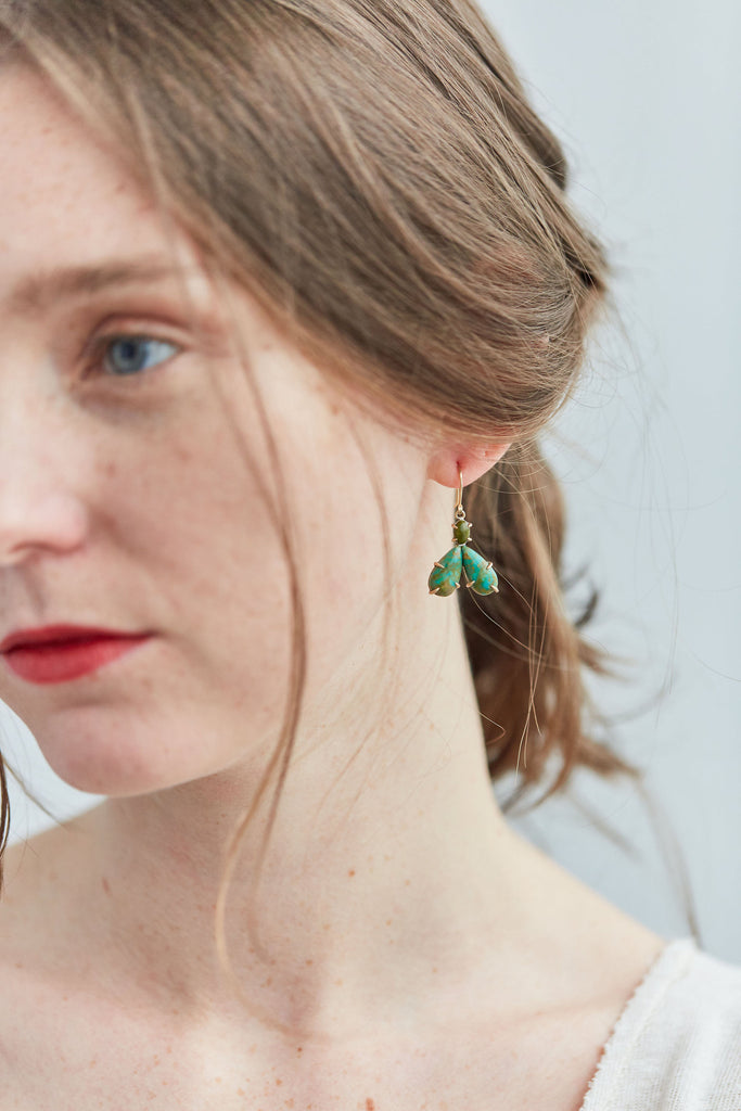 Kingman Turquoise Moth Vanity Earrings-Hannah Blount Jewelry