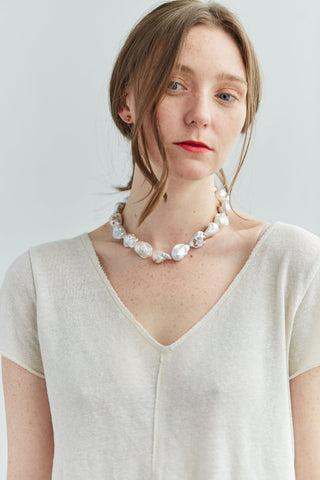 Opalescent Baroque Pearl Ruthie B. Necklace with Barnacles-Hannah Blount Jewelry