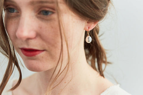School of Minnows Pearl Scrimshaw Earrings-Hannah Blount Jewelry