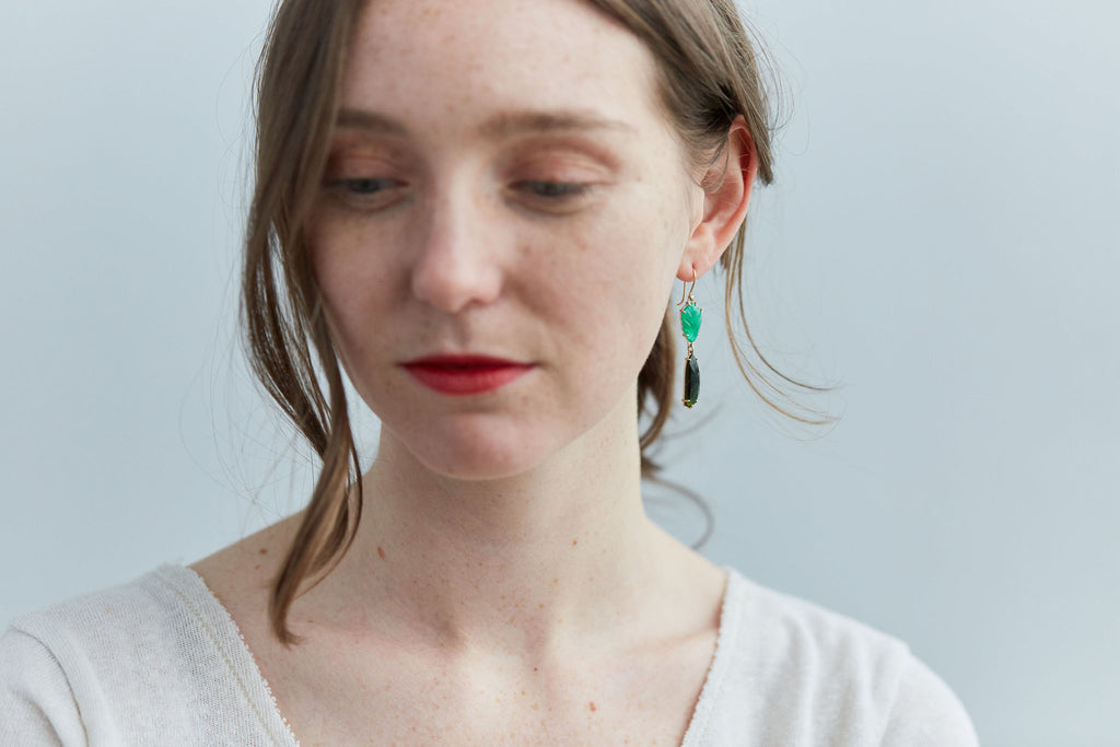 Emerald + Tourmaline Deco Vanity Earrings-Hannah Blount Jewelry