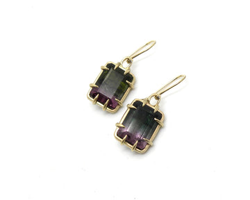 Maleficent Tourmaline Pyramid Vanity Earrings-Hannah Blount Jewelry