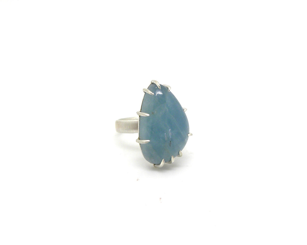 Grand Teardrop Aquamarine Vanity Ring, 6.75-Hannah Blount Jewelry