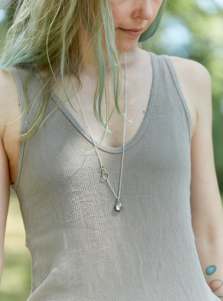 Small Moss Aquamarine Vanity Necklace-Hannah Blount Jewelry
