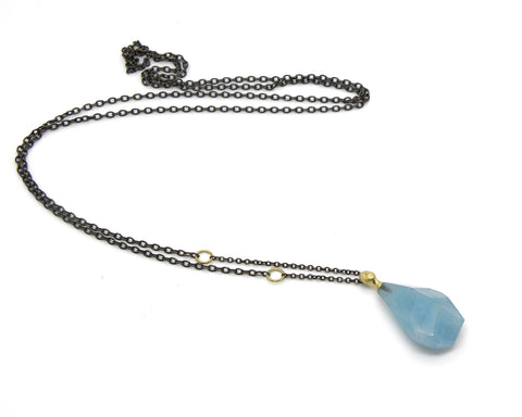 Hewn Aquamarine Cameo Necklace-Hannah Blount Jewelry