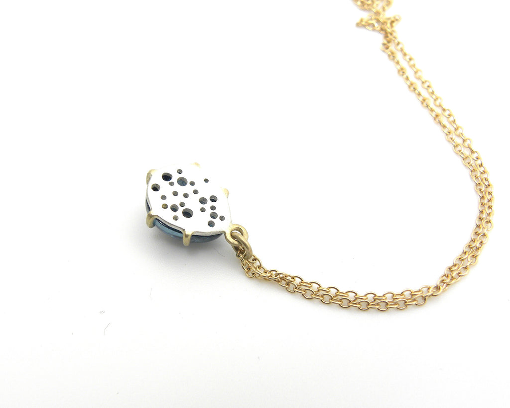 Indicolite Speckled Egg Vanity Necklace-Hannah Blount Jewelry