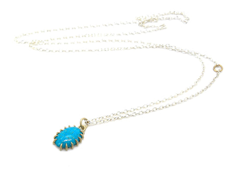 Mottled Kingman Turquoise Vanity Necklace-Hannah Blount Jewelry