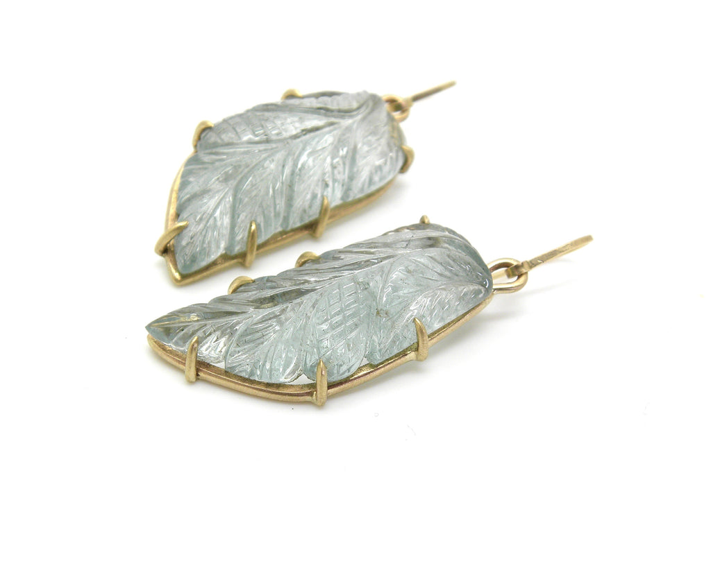 Alkonost Carved Aquamarine Vanity Earrings - Hannah Blount Jewelry