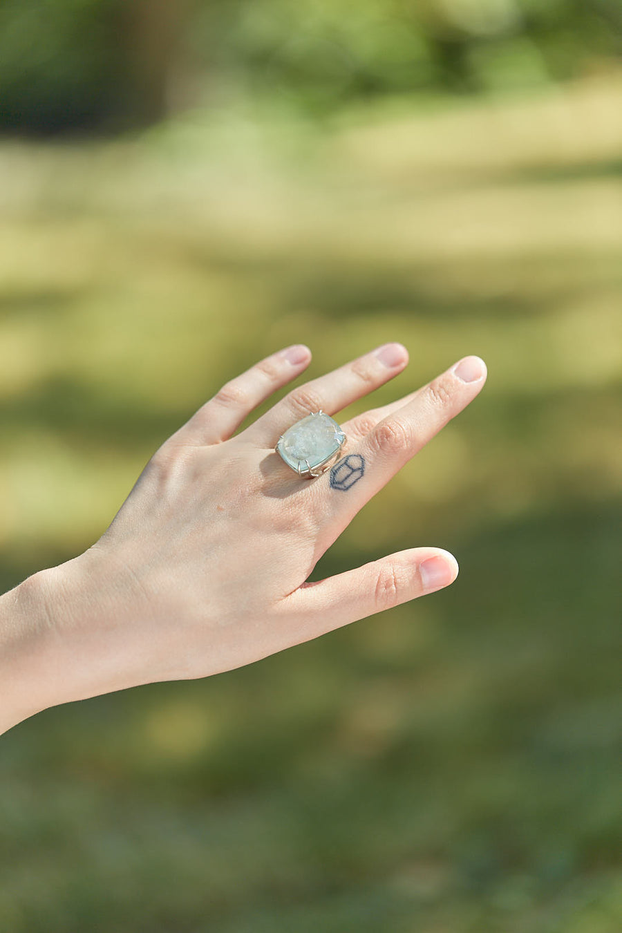 Sea Spray Aquamarine Stirrup Vanity Ring-Hannah Blount Jewelry