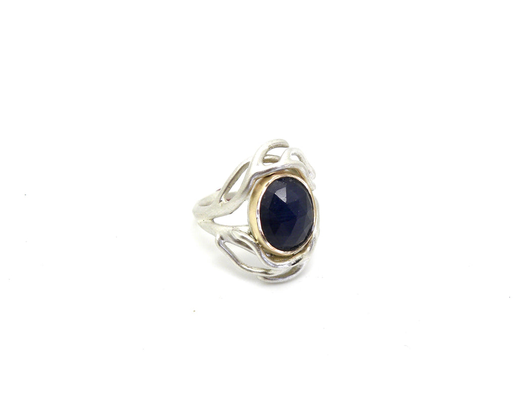 Midnight Sapphire Branch Waiting Ring, 5 - Hannah Blount Jewelry