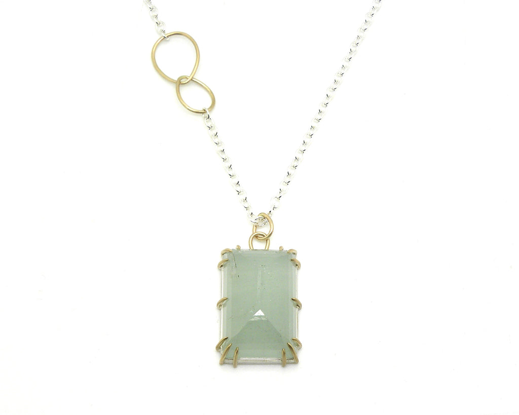 Swell Aquamarine Pyramid Vanity Necklace-Hannah Blount Jewelry