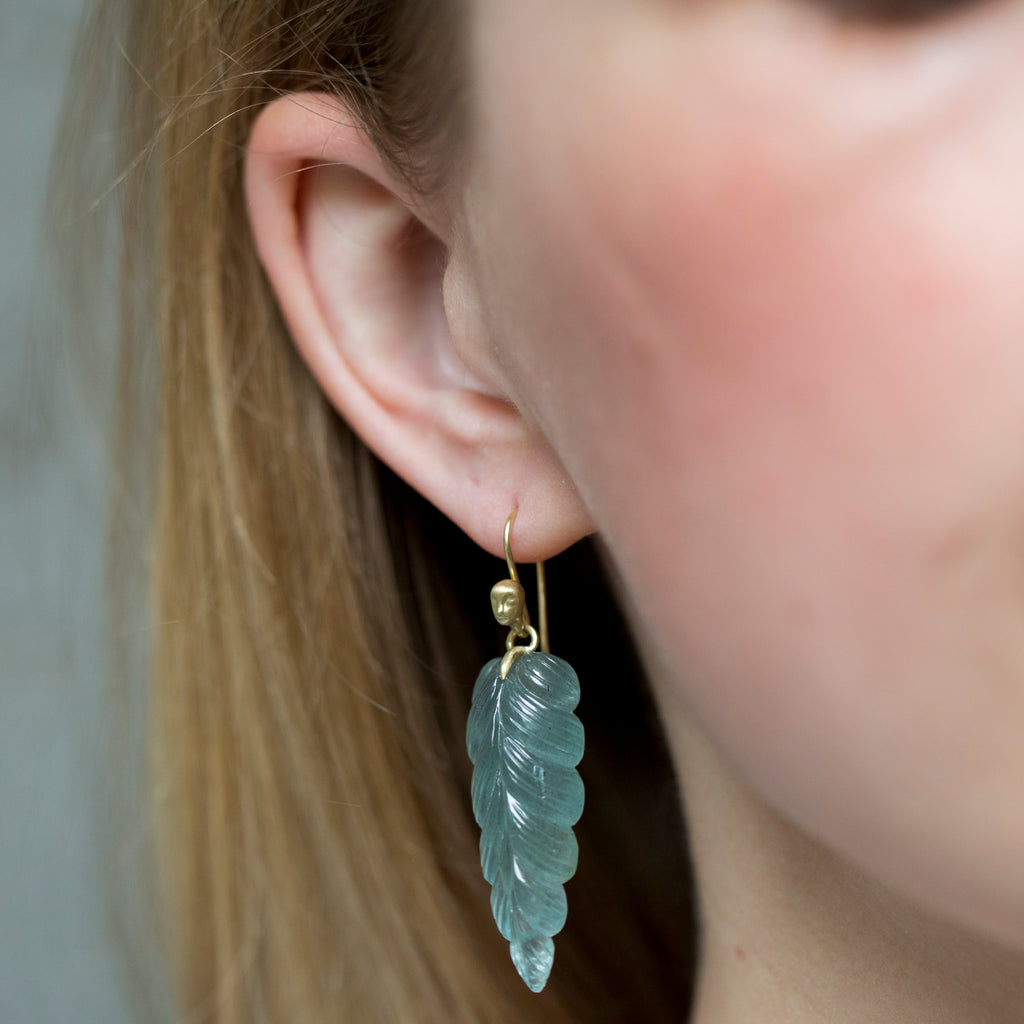 Plumage Aquamarine Figurehead Cameo Earrings - Hannah Blount Jewelry