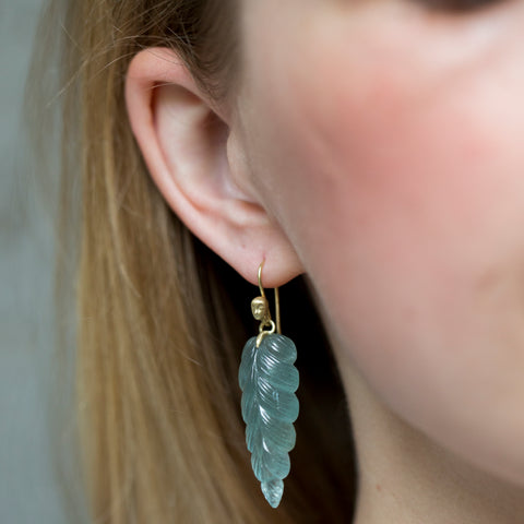 Plumage Aquamarine Figurehead Cameo Earrings-Hannah Blount Jewelry