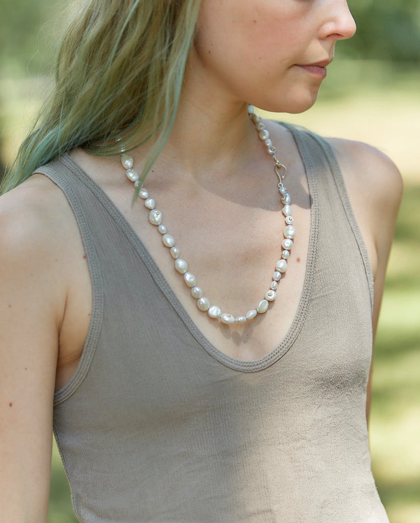 Cirrus Popcorn Pearl Knotted Ruthie B. Necklace-Hannah Blount Jewelry