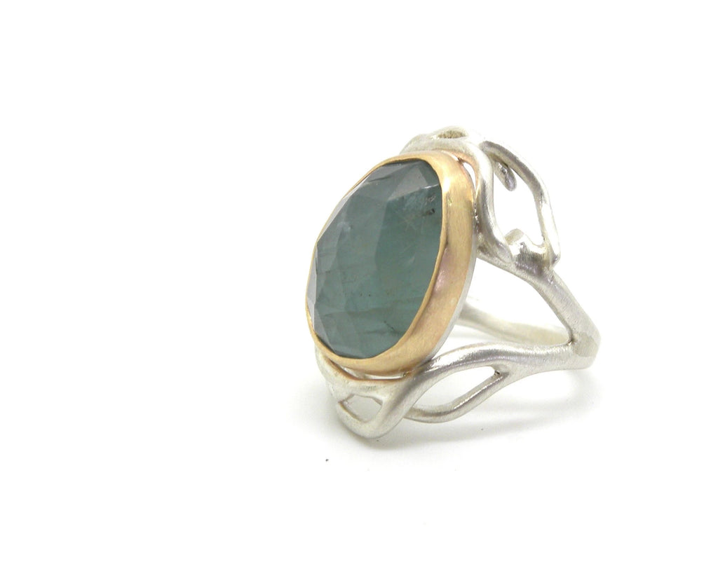 Aquamarine River Branch Waiting Ring, 6.5 - Hannah Blount Jewelry