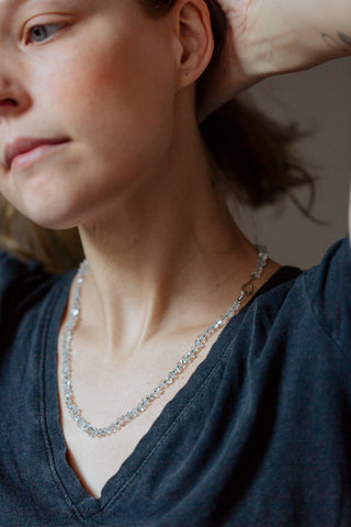 Knotted Herkimer Diamond Ruthie B. Necklace-Hannah Blount Jewelry