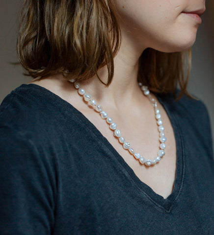 Stratus Pearl Ruthie B. Necklace with Barnacles-Hannah Blount Jewelry