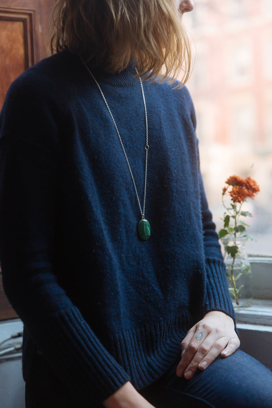 Cavern Malachite Vanity Necklace-Hannah Blount Jewelry