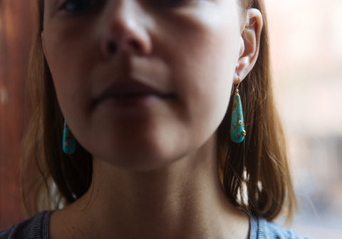 Kingman Turquoise Ruthie B. Earrings-Hannah Blount Jewelry