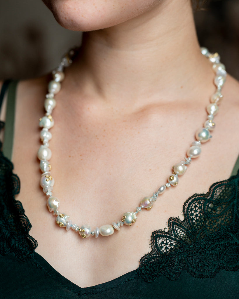 Abstract Freshwater Pearl Ruthie B. Necklace with Barnacles - Hannah Blount Jewelry