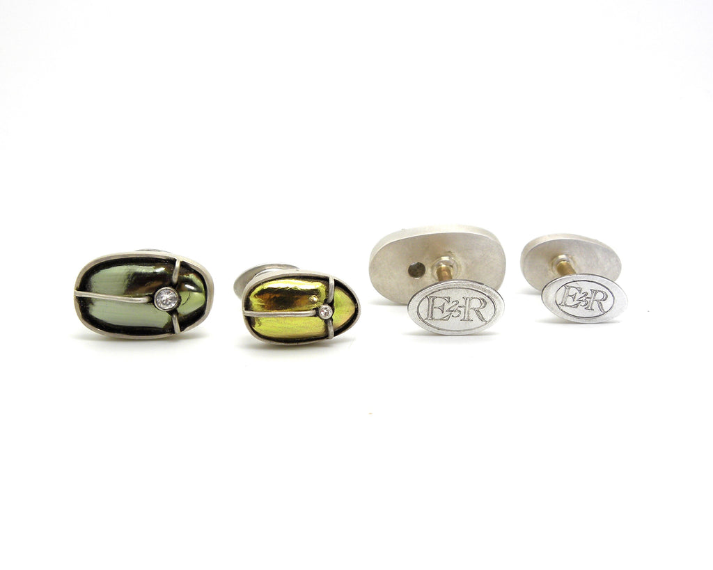 Custom Anniversary Genuine Beetle Cufflinks-Hannah Blount Jewelry