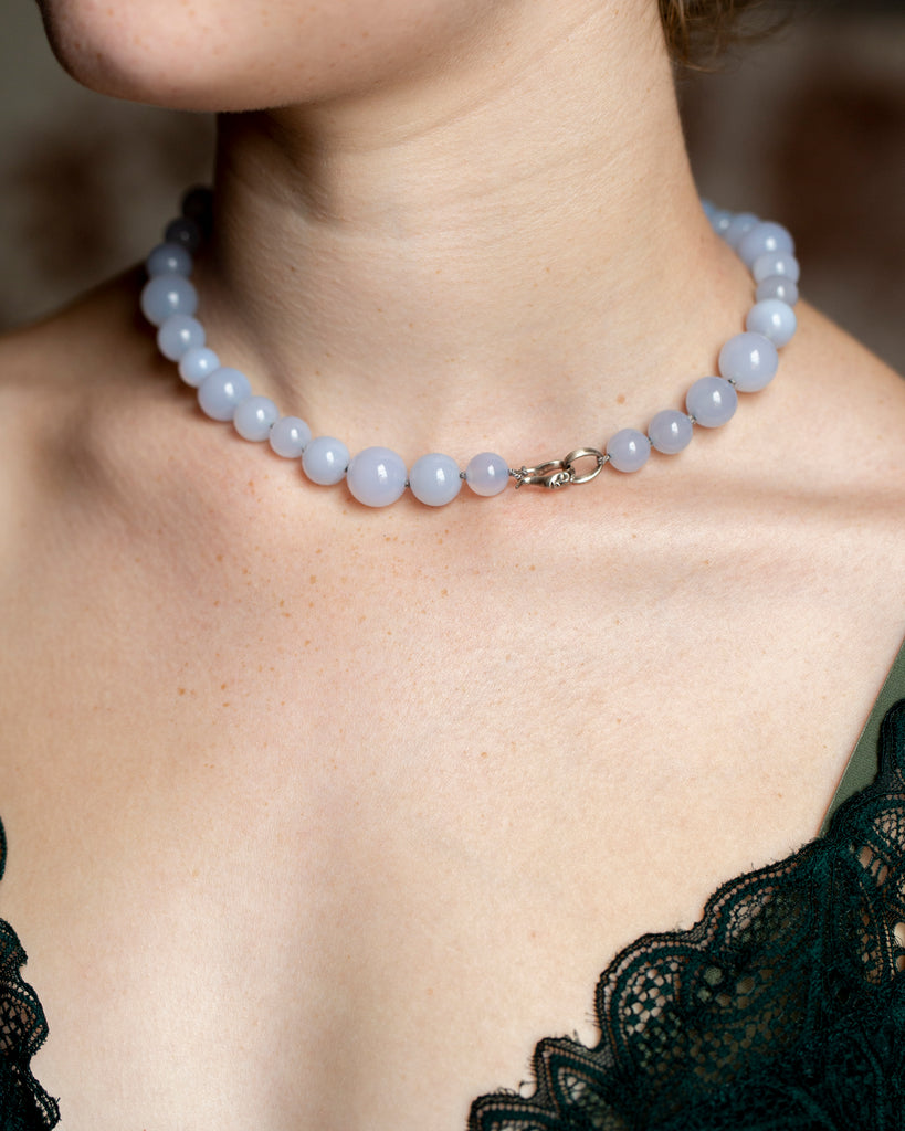 Chalcedony + Diamond Cameo Necklace-Hannah Blount Jewelry