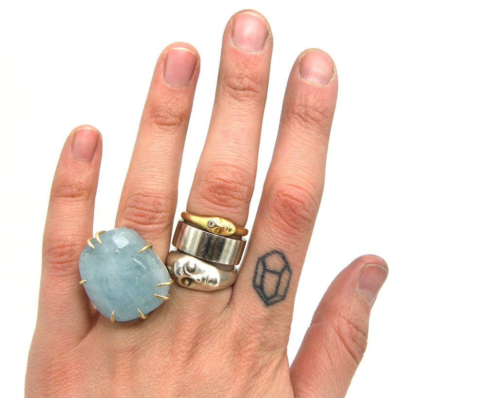 Blue Moon Aquamarine Vanity Ring, 6 - Hannah Blount Jewelry