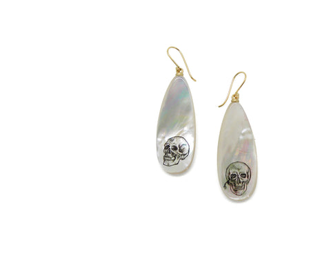 Memento Mori Study #6 Mother of Pearl Scrimshaw Earrings-Hannah Blount Jewelry