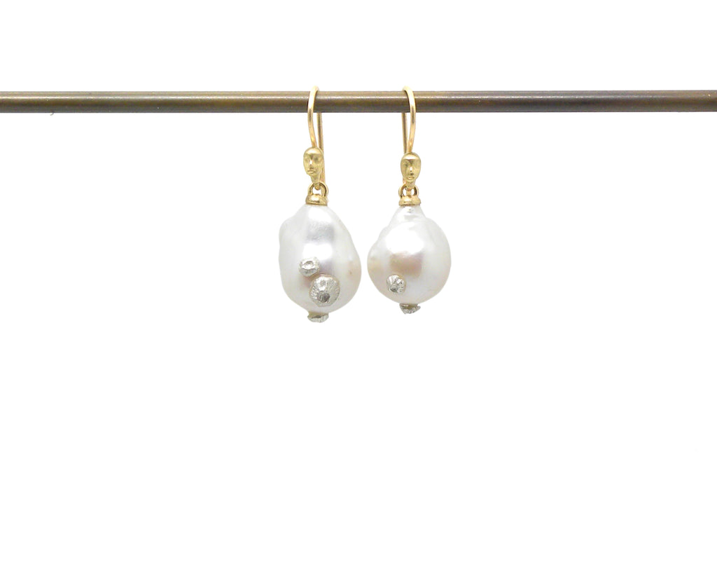 Pearl with Barnacles Figurehead Cameo Earrings-Hannah Blount Jewelry