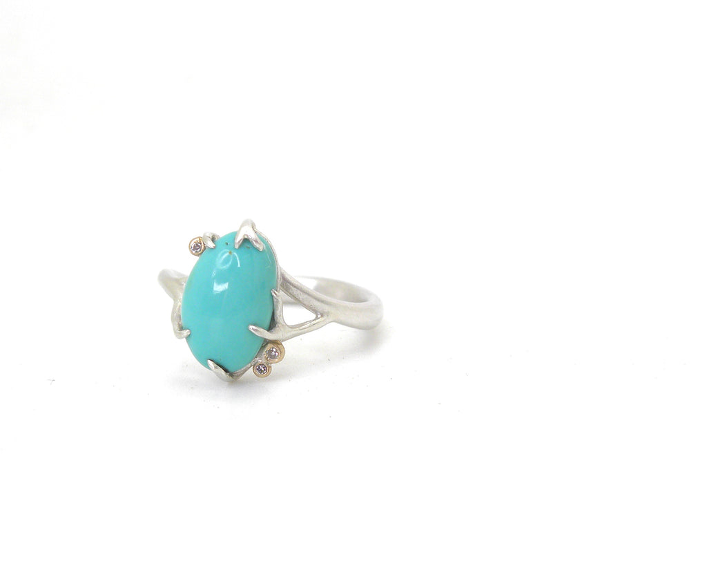 Robin's Nest Turquoise Branch Waiting Ring, 7.5-Hannah Blount Jewelry