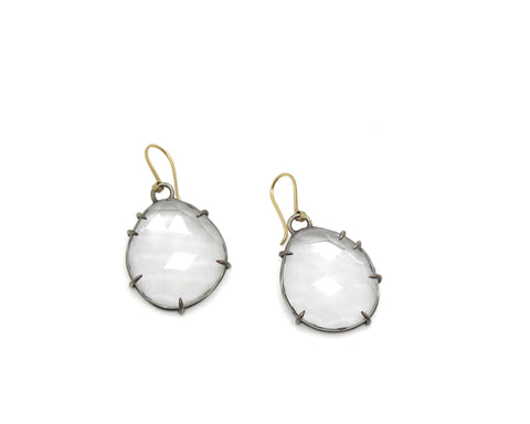 Faceted Quartz Vanity Earrings-Hannah Blount Jewelry