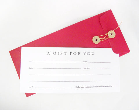 Gift Certificate-Hannah Blount Jewelry