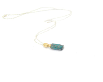 Teal Opal Wood Fossil Cameo Necklace-Hannah Blount Jewelry