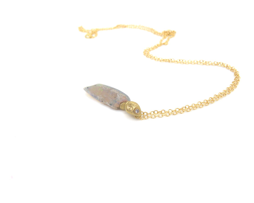 Lemon Blossom Raw Opal Cameo Necklace-Hannah Blount Jewelry