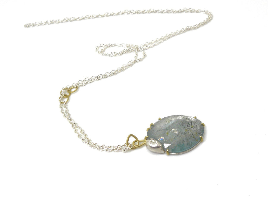 Resting Heart Aquamarine Lady Vanity Necklace-Hannah Blount Jewelry