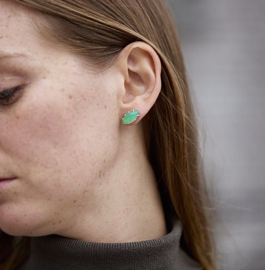 Bright Chrysoprase Vanity Sister Studs-Hannah Blount Jewelry