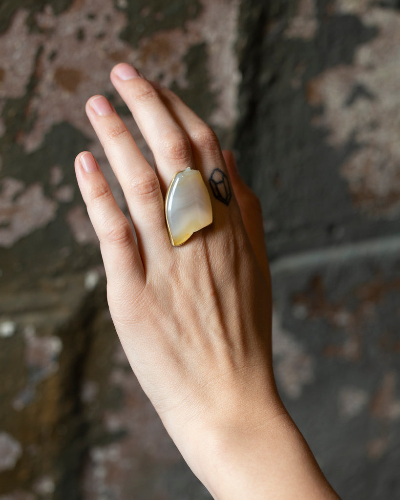 Ceto Carved Agate Cameo Ring, 7-Hannah Blount Jewelry