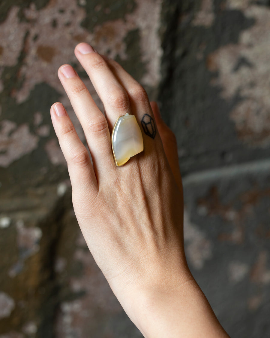 Ceto Carved Agate Cameo Ring-Hannah Blount Jewelry