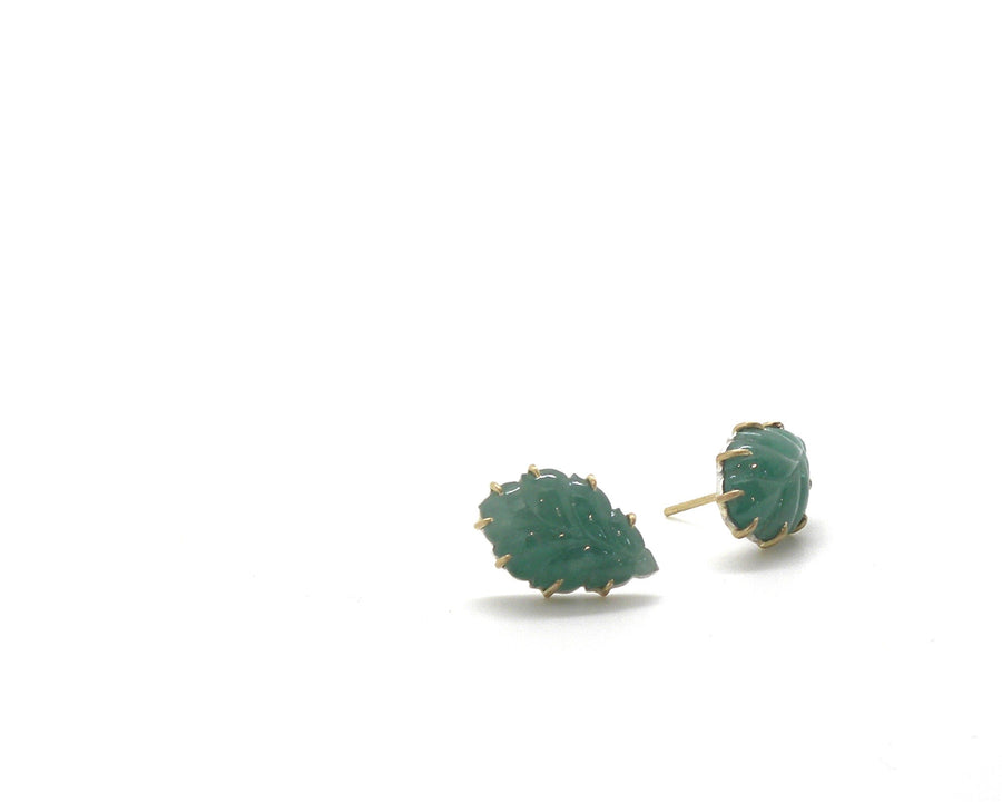 Emerald Feather Vanity Studs-Hannah Blount Jewelry