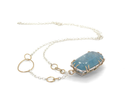Hemlock Branch Aquamarine Vanity Necklace-Hannah Blount Jewelry