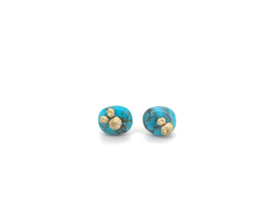 Kingman Turquoise Ruthie B. Studs with Barnacles-Hannah Blount Jewelry