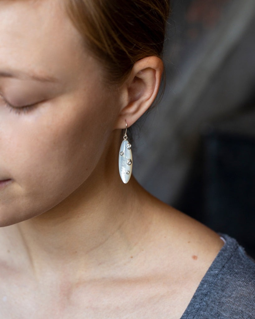 Mother of Pearl Earrings with Barnacles-Hannah Blount Jewelry