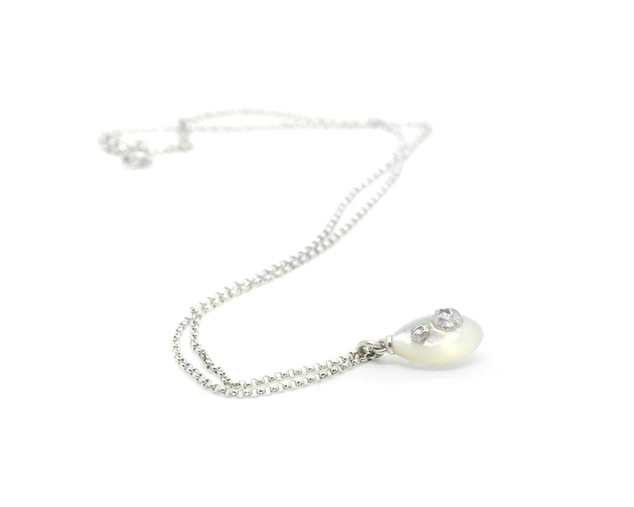 Mother of Pearl Necklace with Barnacles-Hannah Blount Jewelry