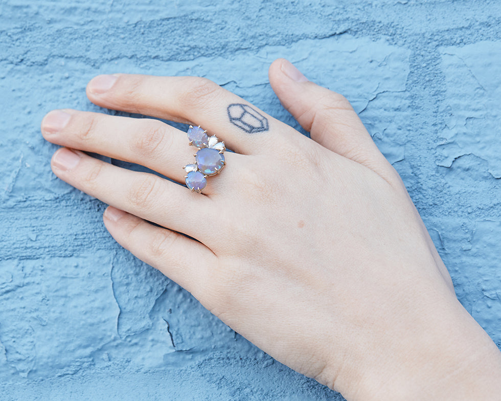 Ombre Opal + Moonstone Vanity Ring, 6.5-Hannah Blount Jewelry