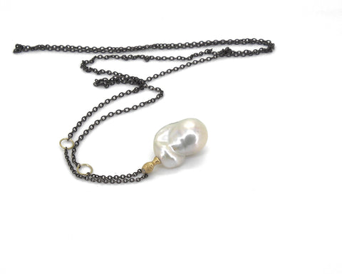 Windswept Pearl Cameo Necklace-Hannah Blount Jewelry