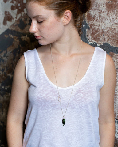 Speckled Diamond Jewel Beetle Wing Vanity Necklace-Hannah Blount Jewelry