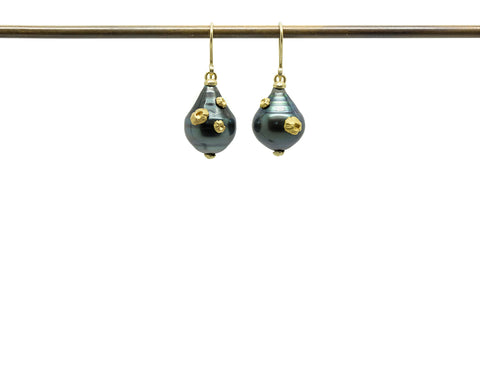 Tahitian Pearl Ruthie B. Earrings with Barnacles-Hannah Blount Jewelry