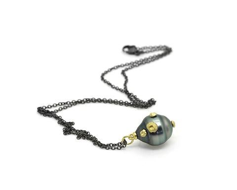 Tahitian Pearl Ruthie B. Necklace with Barnacles-Hannah Blount Jewelry